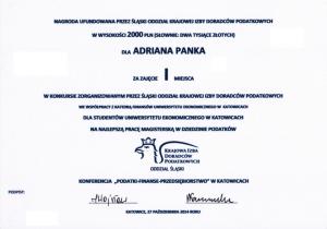 Nagroda dla Adriana Panka